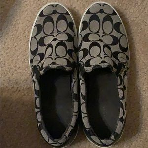 Coach slip on sneakers black and white